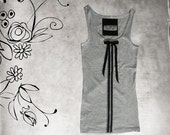 Tank gray women/athletic front stripe/sleeveless top