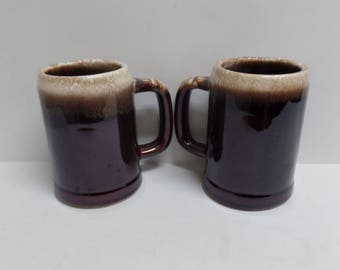 2 Vintage McCoy Mugs large brown drip cups steins