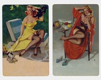 GLAMOUR GIRLS (2) Vintage Single Swap Playing Card Scrapbooking Paper Ephemera