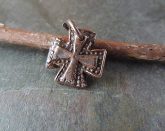 Copper Cross Pendant, Copper Cross Charm, Maltese Cross, Copper Pendant, Iron Cross Pendant, Oxidized Copper, Artisan Jewelry