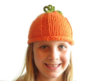 Pumpkin Hat - Soft Hand Knit - Child size - Made to Order