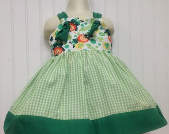 St.  Patrick's Day Leprechaun girls dress sizes 2t - 6