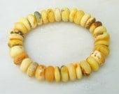 Baltic Amber Jewelry Bracelet Raw Unpolished White Disc Beads 23.4 gram