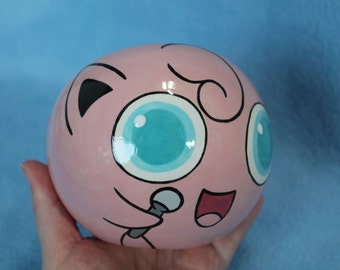 Jigglypuff Ceramic Tilted Bowl (Made to Order and Customizable)