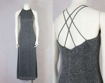 90s Vintage Silver Metallic Strappy Maxi Dress (XS, S)