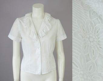 30s 40s White Cotton Floral Ruffle Short Sleeve Blouse (S)