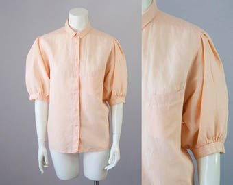 70s Vintage CACHAREL Peach Puff Sleeve Button Down Blouse (L)