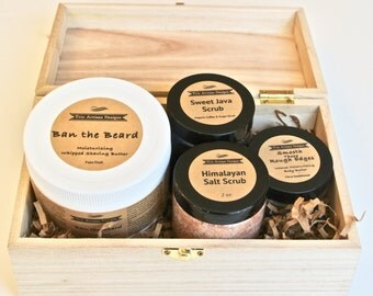 Men's Skin Care Gift Set-Wood Gift Box with Himalayan Salt and Coffee Scrubs, Whipped Shaving Cream, Body Butter Moisturizer, Grooming Kit