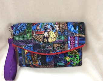 Beauty and the Beast Foldover Wristlet