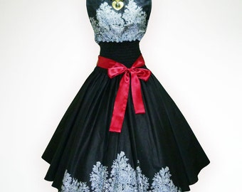 Black Winsome Roses 50s Pin up Rockabilly Swing Dress Full Swing Skirt