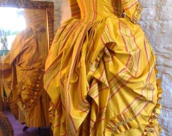 18th Century Silk dress in Yellow stripe