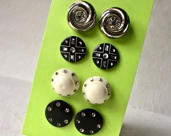 Eight Large Rhinestone Buttons in Pairs for Sewing and Crafts