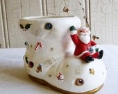 ON SALE Vintage Napco Santa Riding on a Boot Planter - Candy Cane Holder - Decorated with Beads, Gifts and Candy - Made in Japan - 1960s