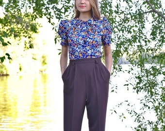 Season sale SALE 40's style swing trousers / pants with pockets, gray rayon blend, size US 14