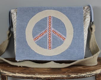 Upcycled Blue and Cream Peace Messenger Bag