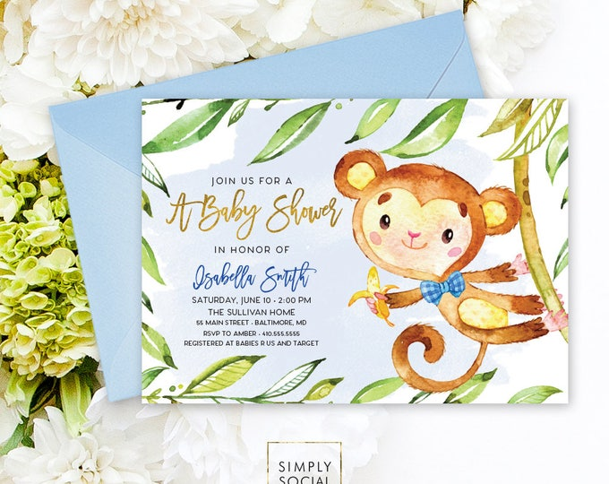 Monkey Baby Shower Invitation - Jungle Leaves Blue Boho It's A Boy Faux Gold Foil Baby Shower Invitation Watercolor Calligraphy Printable