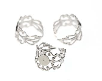 Nickel Silver Tone Brass High Quality Adjustable Filigree Lace Ring Base
