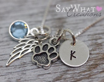 Pet Memorial Necklace Hand Stamped with Paw Print and Angel Wing Charms