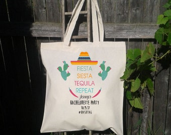 Mexico Fiesta Bachelorette Party Tote Bags, Canvas Tote, Wedding Welcome Tote Bags, Customized