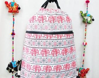 Red Elephant Print Drawstring Backpack