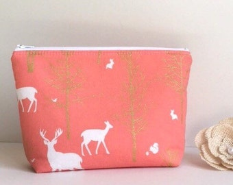 Cosmetic Case. Make-Up Bag. Zip Travel Pouch. Gadget / Pencil / Phone Case - Timber Valley Coral, Metallic Gold, White, Deer, Wildlife