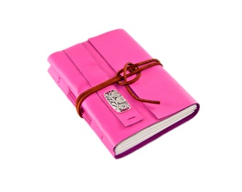 Deep Pink Leather Journal with Blank Paper and 3owl charm - Ready to ship -