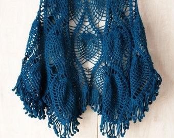 Crochet Shawl, Ananas Shawl, Petrol Cape, Lace Shawl, Womens Gift, Fringed shawl