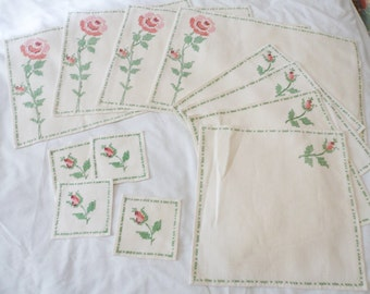 Set for 4 vintage Cross stitch Roses Placemats, Napkins & Coasters