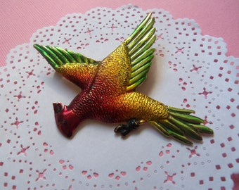 Vintage Colorful Painted Parrot Bird Pin Brooch, Exotic Tropical Bird, Jungle Bird,