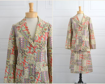 1970s Prestige Patchwork Print Wrap Skirt and Jacket
