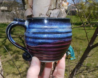 Blue Rutile and Smokey Merlot Textured Ceramic Mug, Handmade Ribbed Blue and Purple Pottery Mug, Curly Handle Medium Small Coffee Mug