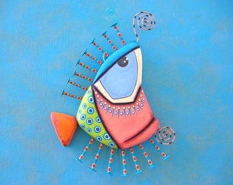 Fish Wall Art, Fred Flounder, Original Found Object Wall Sculpture, Wood Carving, Wall Decor, Marine Art, by Fig Jam Studio