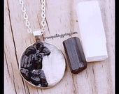Protection Necklace, Black Tourmaline & Selenite Crystal Necklace , Dispelling Negative Energies ,Mental Clarity, Handmade By: tranquilityy