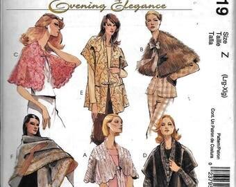 McCall's M4719 Evening Elegance Capes, Wraps & Shawls Sewing Pattern 4719 UNCUT Size L, XL