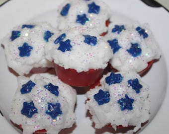YOU CHOOSE SCENT Americana July 4th Star Primitive Grubby Iced Cupcake Wax Tarts Melts