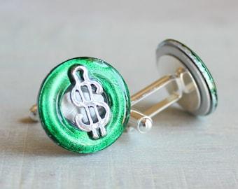 forest green dollar sign cufflinks, dollar cufflinks, anniversary gift, mens jewelry, mens gift, wedding jewelry, groomsmen gift, best man