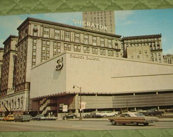 Ohio Cleveland Sheraton Cleveland Hotel Glossy Postcard Dated 1971 Plastichrome Cars in Street