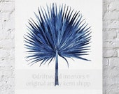 BLACK FRIDAY SALE Fan Palm Watercolor in Denim Blue Print 11x14 - Watercolor  Print - Tropical Wall Art