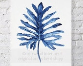 BLACK FRIDAY SALE Tropical Leaf Ii Watercolor Print in Denim Blue 11x14 - Watercolor Art Print - Tropical Wall Art