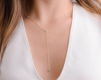 Natural Turquoise Y Necklace, Sterling Silver & Gold Plated, Lariat Necklace, Minimalist Drop Necklace, Gift for girlfriend, NCK005TRQ