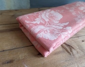 vintage FRENCH pink damask ticking fabric white flowers Shabby Chic Used Long piece
