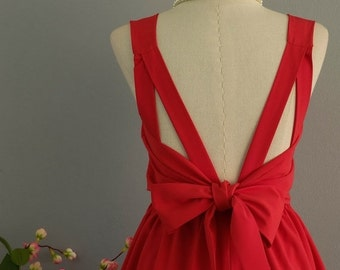 Christmas SALE A Party V Backless Red Dress Red Bridesmaid Dresses Backless Dresses Red Cocktail Dress Prom Party Dresses Timeless Dress Cus