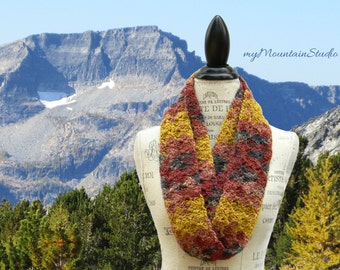 Nutmeg Infinity Scarf Cowl for Women in Fall Colors. Montana Handmade. Ready to Ship.