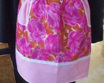 Vintage Half Apron - Gorgeous Rose & Pink Polished Cotton