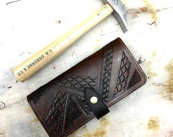 Long Wallet - Special #2 - handmade leather wallet - womens wallet - leather wallet - made in usa - tooled womens wallet