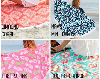 Monogrammed Round Beach Towel Sand Circle,  Round Beach Blanket,  Choose between different patterns