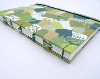 Patchwork notebook, journal, green, forest, A5, rounded, handmade paper