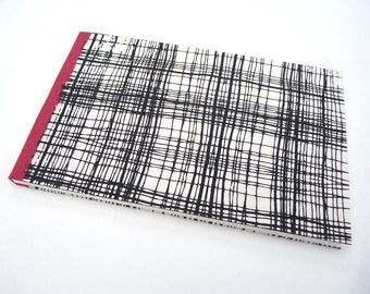 Black, white, red, notebook, journal, sketchbook, handmade paper, bookcloth