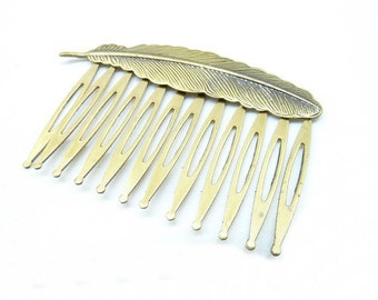 3pcs 35x53mm Antique Bronze  Feather Daisy Filigree  Hairpin Hair Comb C6292