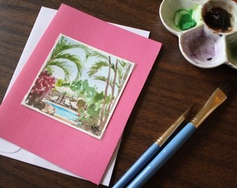 Miniature 3x3 Original Watercolor Note Card Spanish Oasis